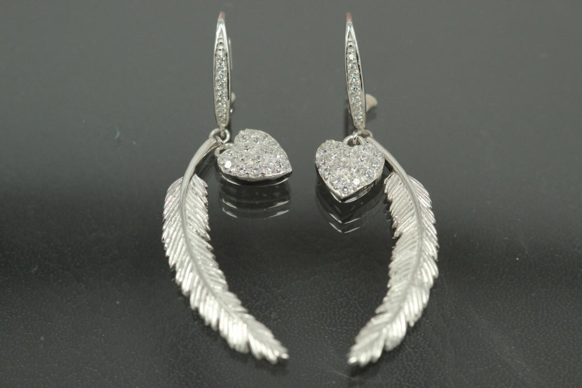 aLEm Earring with Leverback Heart & Feather 925/- Silverrhodium plated, approx size length 49,0mm incl. leverback, length Feather 37,5mm with loop , wide 5,5mm, MS2,0mm, size heart 10,8mm x 8,5mm with loop.