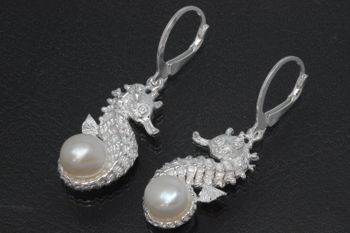 aLEm Earring, Seahorse and Pearl 925/- Silver polished, approx size high 38,5mm incl. leverback, wide 14,0mm,  with FW-Pearl approx size Ø7,5mm.