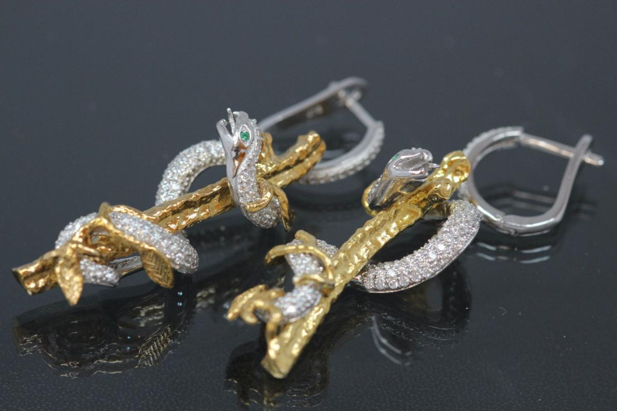 aLEm Earrings Snake on tree of the collection Wild Life by alain LE mondial, 925/- Silver partially gold plated, partially rhodium plated, leverback with Cubic Zirconia,approx size high 50,0mm, wide 15,0mm, thickness 12,2mm,