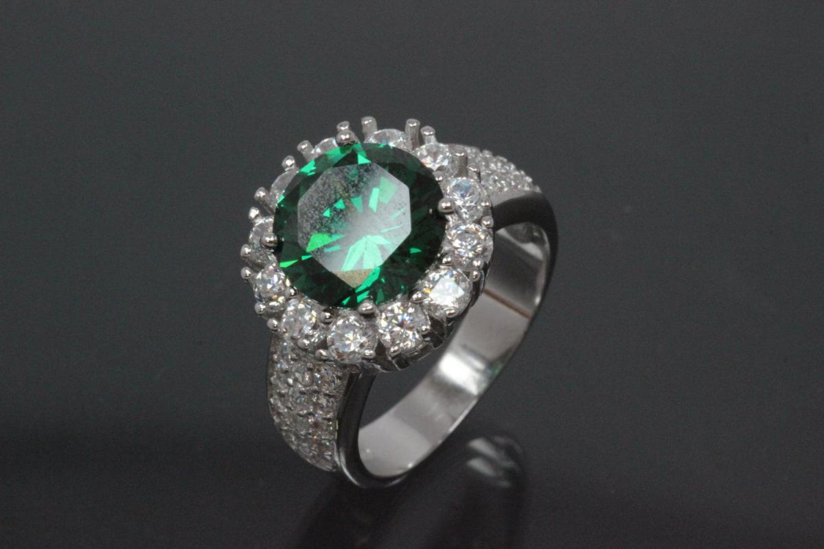 aLEm Ring with small white and big emerald green Zirconia 925/- Silver rhodium plated