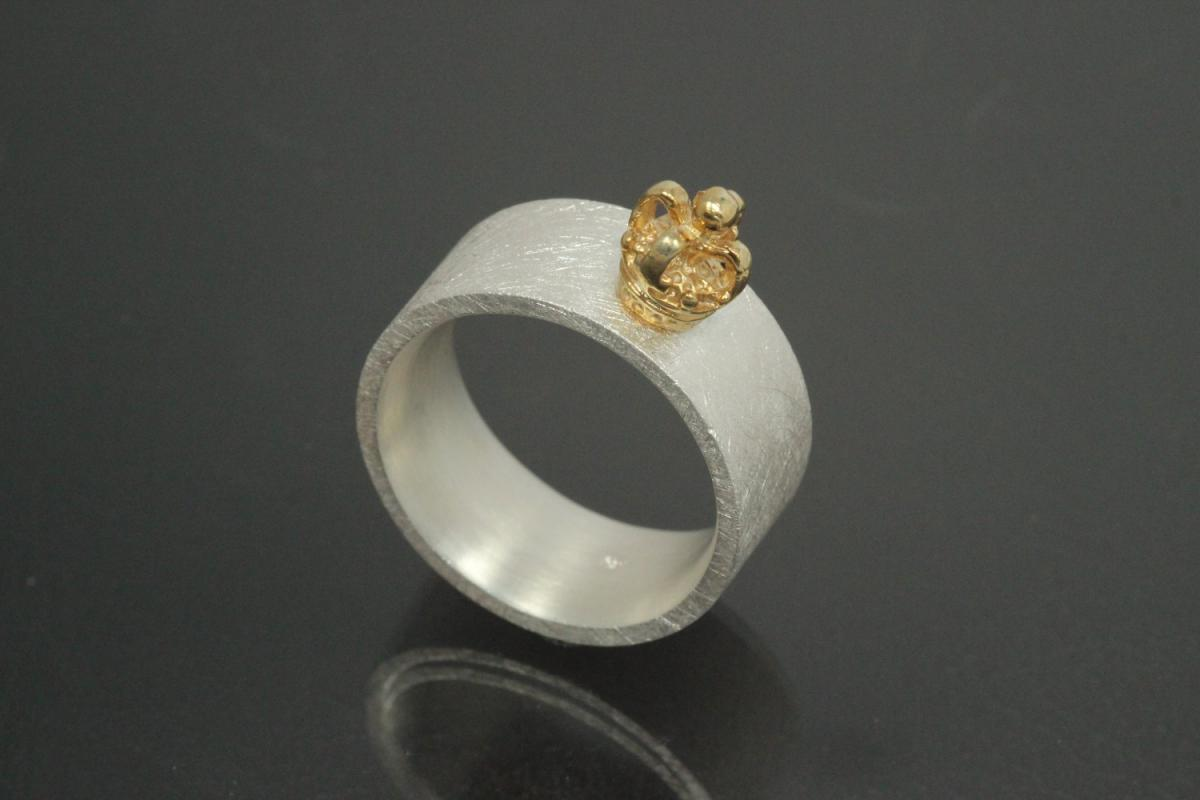 aLEm Ring  Golden Sovereign Symbol of Love by alain LE mondial 925/- Silver and partially gold plated,