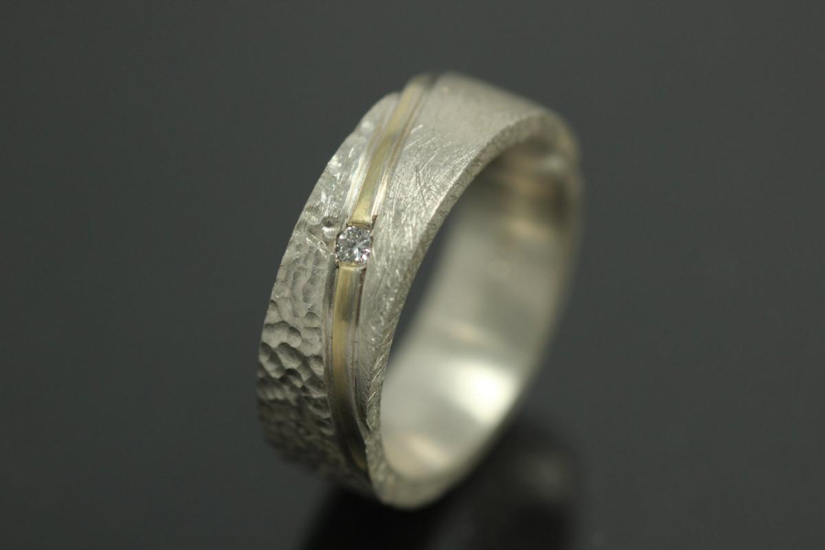 aLEm Ring, Autumn Dream with totally 0,036 ct w/si diamond, 925/- Silver with approx.size 585/- gold stripe