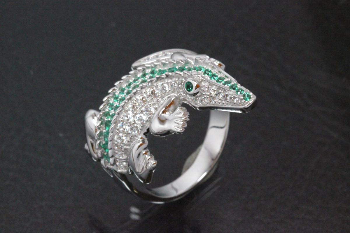 aLEm Ring Crocodile 925/- Silver rhodium plated with white and emerald green Cubic Zirconia