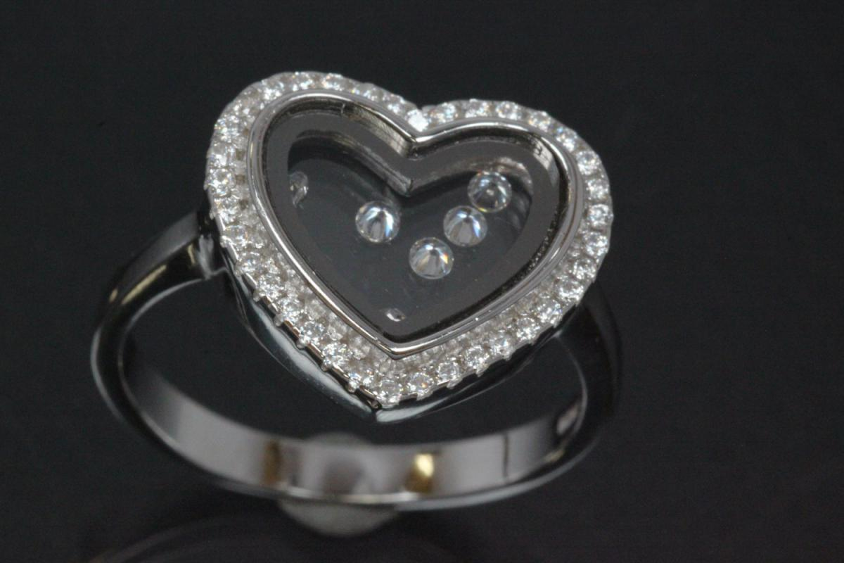 aLEm Ring heart with moving Zirconia between two glasses  in the center 925/- Silver rhodium plated