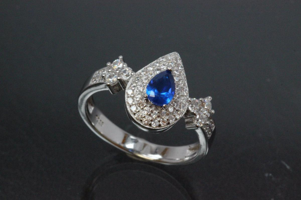 aLEm Ring  Teardrop of Midnight  with sapphire color and white Zirconia 925/- Silver  rhodium plated