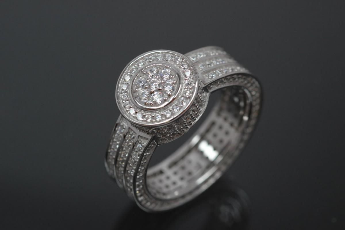 aLEm Ring alain LE mondial 925/- Silver rhodium plated, with white Cubic Zirconia and undergallery