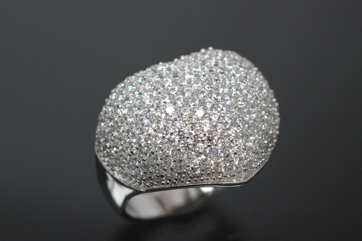 aLEm Ring Glittering Heart 925/- Silver rhodium plated, with white Cubic Zirconia