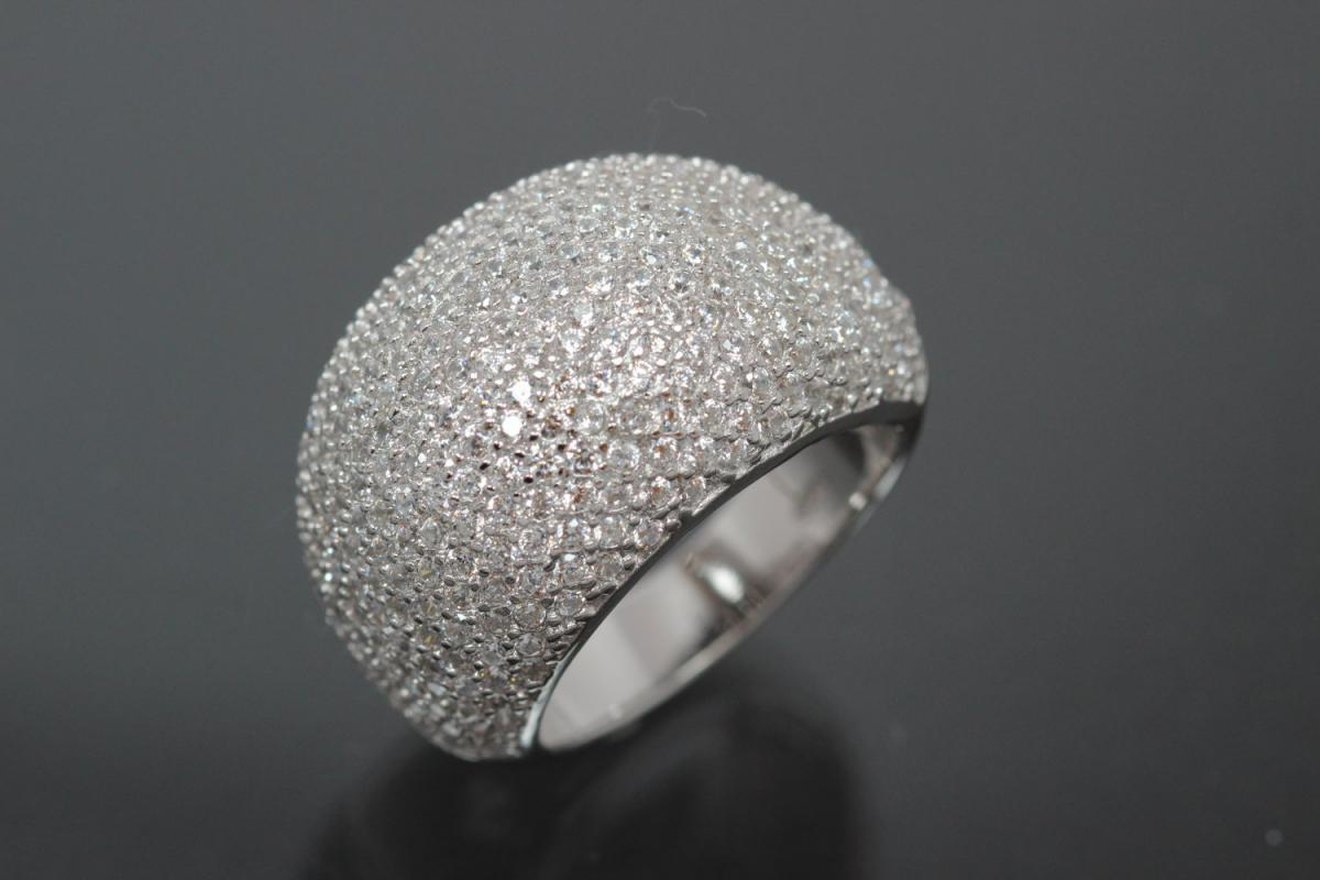aLEm Ring Broad Sparkles 925/- Silver rhodium plated, with white Cubic Zirconia and undergallery