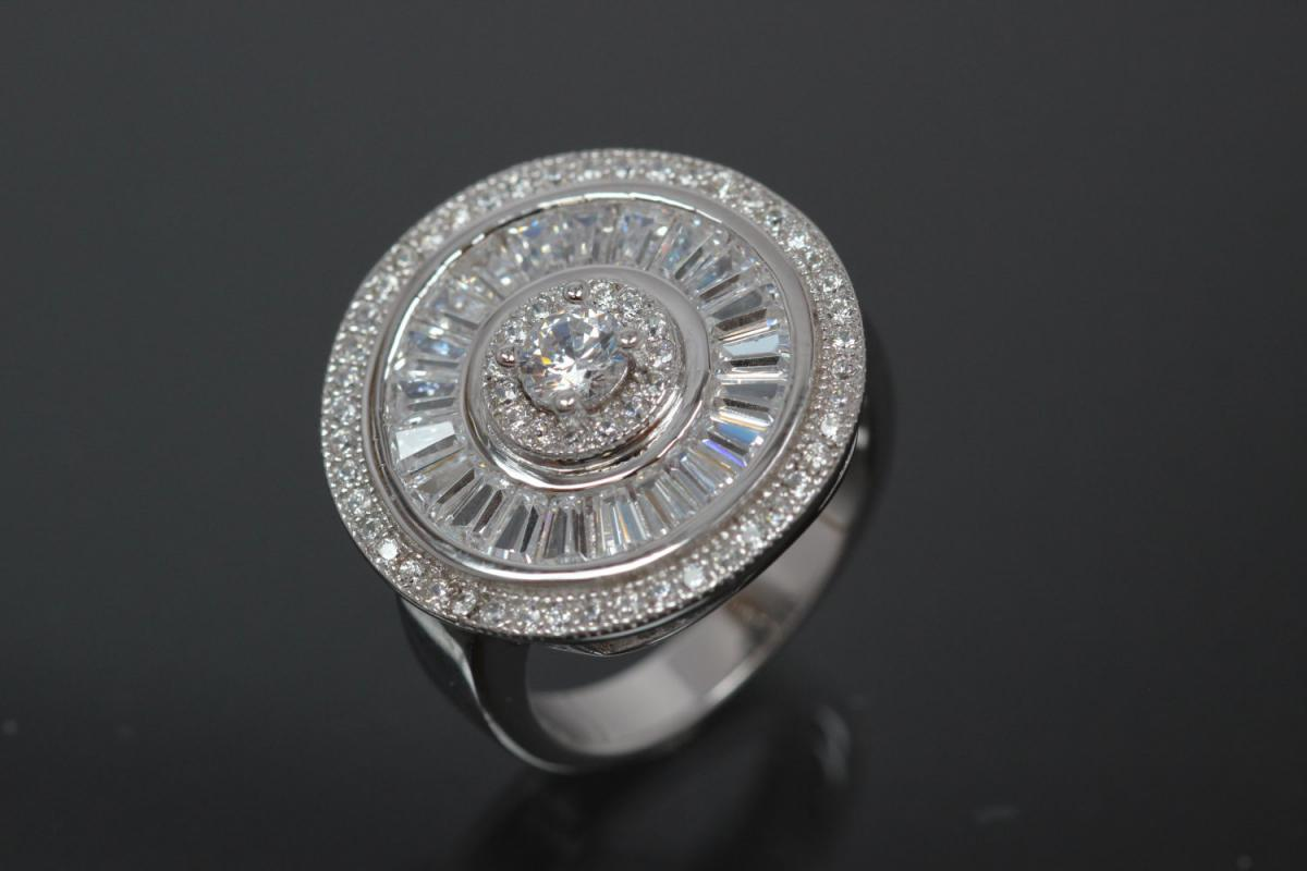aLEm Ring Global World Circle 925/- Silver rhodium plated, with white Cubic Zirconia