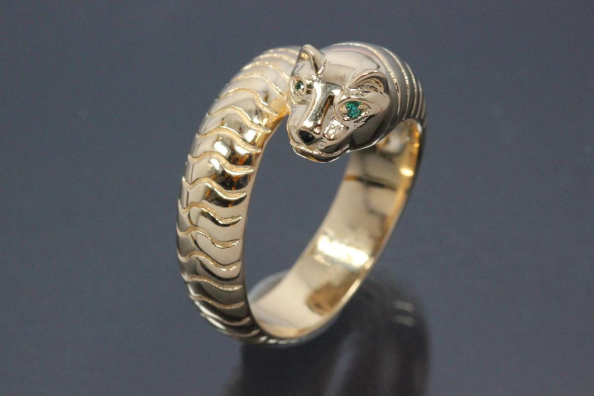 aLEm Ring Sneaking Tiger 925/- Silver gold plated, with white/emerald green Cubic Zirconia