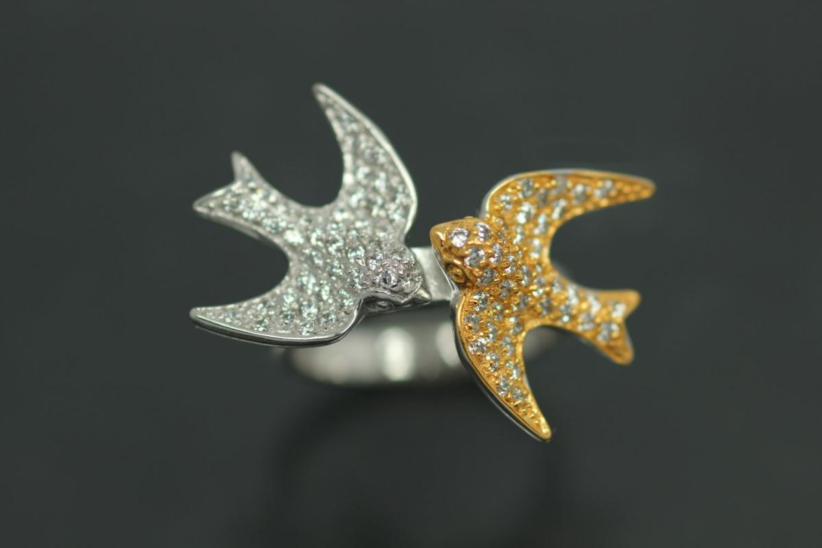 aLEm Ring Symbol of Love & Peace 925/- Silver rhodium plated / partially gold plated