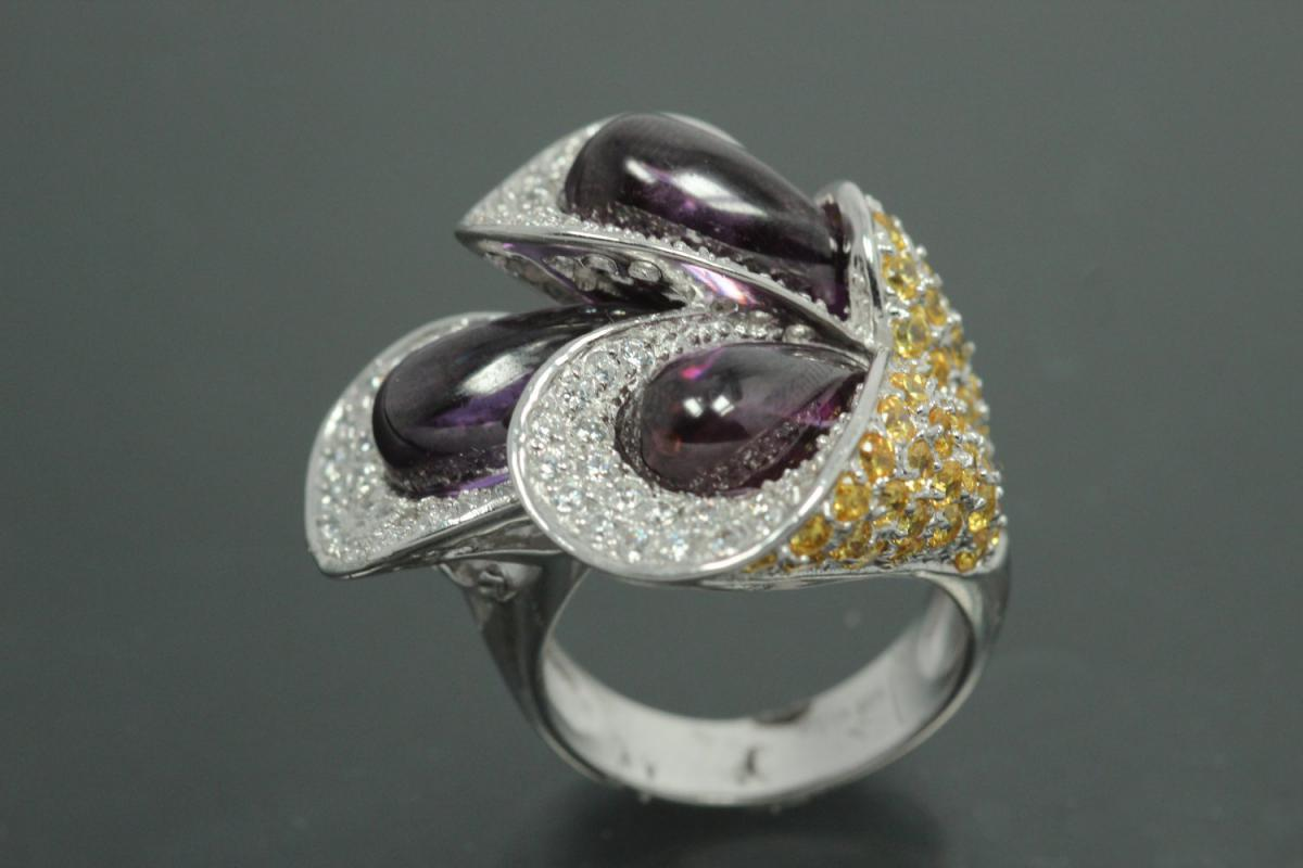 aLEm Ring Sprouting Calla 925/- Silver rhodium plated, with white/yellow/amethyst puple Cubic Zirconia