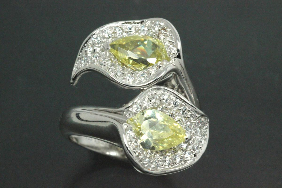 aLEm Ring Glittering Leafs 925/- Silver rhodium plated, with white/peridot green Cubic Zirconia