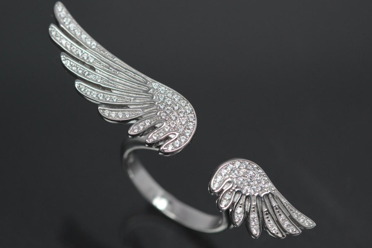 aLEm Ring Angel Wing Wing of Freedom 925/- Silver rhodium plated with white Cubic Zirconia