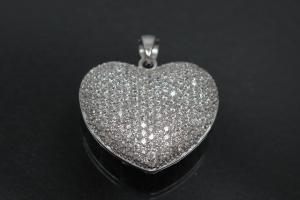 aLEm Pendant Danty Heart with Zirconia 925/- Silver rhodium plated,