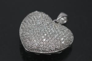aLEm Pendant Danty Heart with Zirconia 925/- Silver rhodium plated,