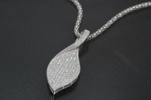 aLEm Pendant Glittering Leaf with Zirconia 925/- Silver rhodium plated,