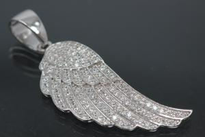 aLEm Pendant Angel Wing with Zirconia 925/- Silver rhodium plated,