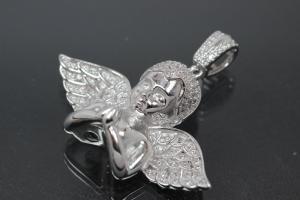 aLEm Pendant Infinity Angel with Zirconia 925/- Silver rhodium plated,