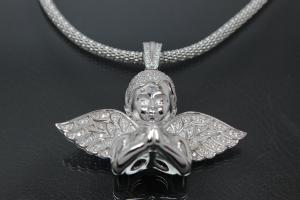aLEm Pendant Married Angel with Zirconia 925/- Silver rhodium plated,
