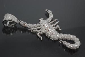 aLEm Pendant Scorpion with Zirconia 925/- Silver rhodium plated,