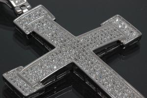 aLEm Pendant Cross in knight design with Zirconia 925/- Silver rhodium plated,