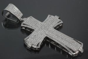 aLEm Pendant Cross in knight design with Zirconia 925/- Silver rhodium plated