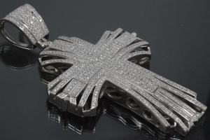 aLEm Pendant Cloverleaf Cross from the Kinght Epoch with Zirconia 925/- Silver rhodium plated,