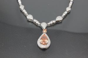 aLEm necklace  Teardrop of the Sun  with champagne color and white Zirconia 925/- Silver  rhodium plated with trigger clasp