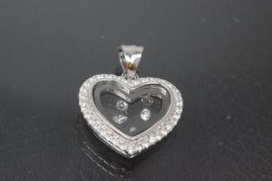 aLEm Pendant with Zirconia heart, 925/- silver rhodium plated,