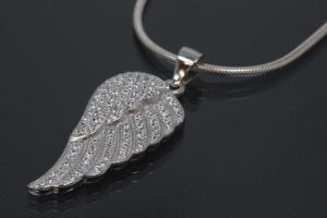 aLEm Pendant Angel Wing 925/- Silver rhodium plated with Cirkonia,
