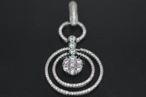 aLEm Pendant Fire in the Ring 925/- Silver rhodium plated with white Zirconia,