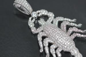 aLEm Pendant Scorpion 925/- Silver rhodium plated with white Zirconia,
