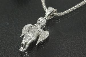 aLEm Pendant Guardian Angel 925/- Silver rhodium plated with white Zirconia,