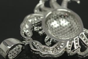 aLEm Pendant Cancer 925/- Silver rhodium plated with white Zirconia,