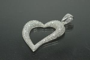 aLEm Pendant Heart of Soul 925/- Silver rhodium plated with white Zirconia,