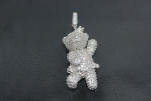 aLEm Pendant Bear Lucky Bear 925/- Silver rhodium plated with Zirconia,