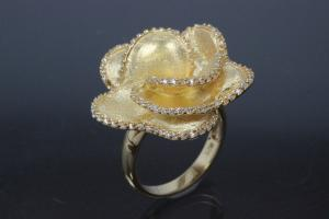 aLEm Ring Flower Roses, 925/- Silver gold plated, approx size ring head high 26mm, wide 26mm, thickness 19,0mm, Ring size 56