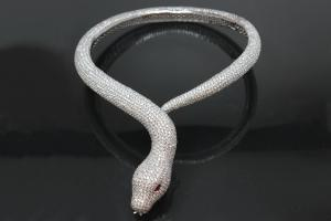 aLEm necklace Snake White Mamba 925/- Silver rhodium plated,body approx. Size Ø 8-16mm, head 40 x 24mm, inside neck size approx. 40cm length