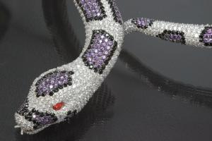 aLEm necklace Snake Tigerpython 925/- Silver rhodium plated,body approx. Size Ø 8-16mm, head 40 x 24mm, inside neck size approx. 50cm length