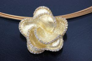 aLEm Pendant Flower Roses, 925/- Silver gold plated, approx size high 26mm, wide 26mm, thickness 19,0mm, bail on the backside,
