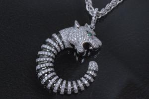 aLEm Pendant Tiger of Prosperity 925/- Silver rhodum plated with Zirconia white and green,