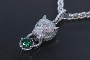 aLEm Pendant Tiger of Glory 925/- Silver rhodium plated, setted with green and white Zirconia ,