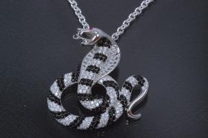 aLEm Pendant Snake Cobra 925/- Silver rhodium plated,