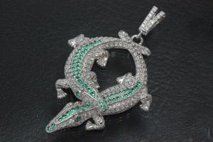 aLEm Anhänger Two Crocodile in the Fight setted with white and green Zirconia, 925/- Silver rhodium plated and polished,