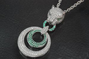 aLEm Pendant Tiger with Firering 925/- Silver rhodum plated with Zirconia white and green,