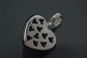 aLEm Pendant Onyx Heart with Zirconia 925/- Silver rhodium plated,  polished,
