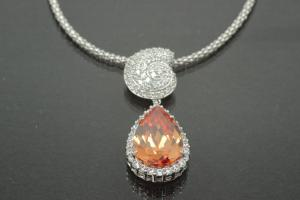 aLEm Pendant Teardrop and Top as a Ammonite 925/- Silver rhodium plated with champagne Zirconia and white Zirconia