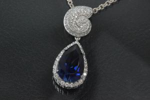 aLEm Pendant sapphire colour faceted Teardrop and Top as a Ammonite 925/- Silver rhodium plated and white Zirconia