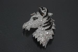 aLEm Pendant Horse Head  with white und black Zirconia 925/- Silver rhodium plated